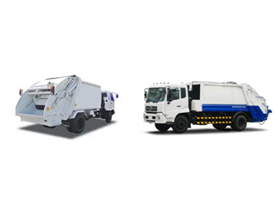 Compactor vehicles for domestic waste transportation.