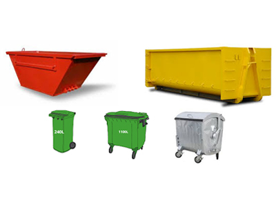 Containers � 7m3, 20m3, 1100ltr, 240ltr and custom size for waste collection.